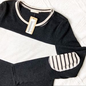 12pm by Mon Ami Striped Sweater Elbow Patch NWT